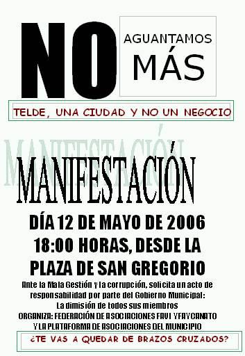 Manifestación el 12 de mayo contra la corrupción en el Ayuntamiento de Telde