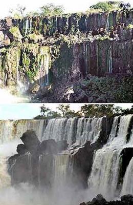 Las Cataratas del Iguazú sin agua
