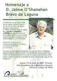 Homenaje de la Biblioteca de la ULPGC a D. Jaime O'Shanahan